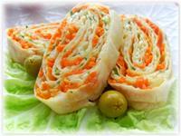 Рулет лаваша с корейской морковкой