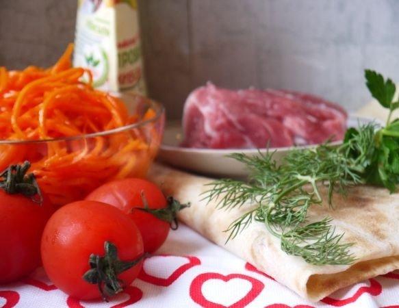 рулет из лаваша с мясом