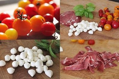 Kanape s  pomidorom cherri mocarelloi