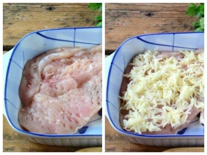 Мясо по французски с курицей