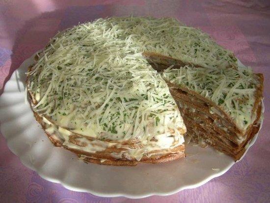 Печёночный торт из куриной печени рецепт с фото